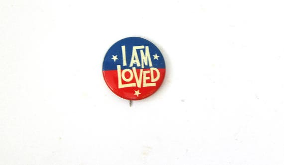 I am Loved Metal PinBack Brooch Vintage Red White and Blue Patriotic Flag Pin Retro Hipster Jewelry Lapel Old School Pinback with Stars