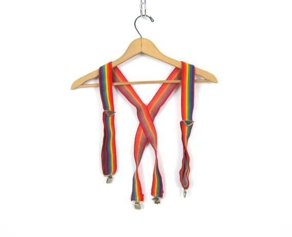 Vintage RAINBOW red Suspenders striped Retro Hipster Unisex Belt with silver clips clasps