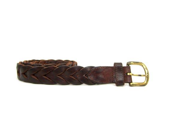 Thick Brown Braided Belt Eddie Bauer Braided Leather Belt Vintage Dark Brown Boho Belt Woven Leather Belt Preppy Belt Size Medium Large