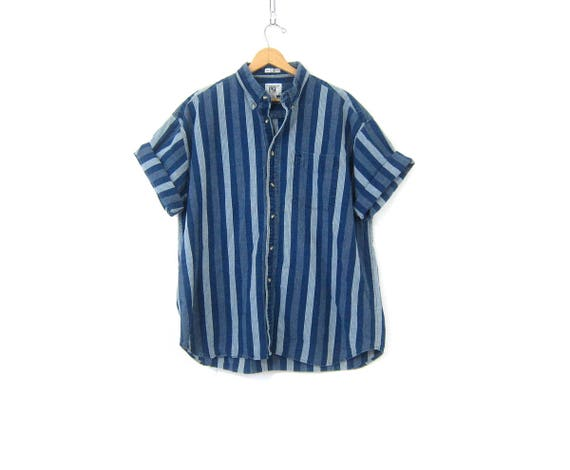 Striped Jean Boyfriend Shirt Men's Short Sleeve Blue Denim Shirt Button Down Basic Collar Oxford Mens Size XL