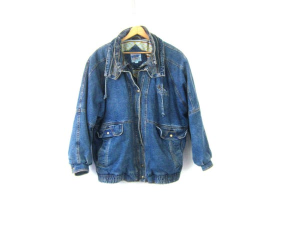 Oversized 80s Jean Jacket Fabric Patches Slouchy Denim Coat Baggy Winter Jacket Indie Hipster Vintage Women's Size 2X