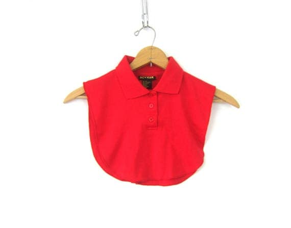 Red Dickies Top Button Collar Layering Shirt Red Crop Top Retro Vintage Womens One Size Fits Most