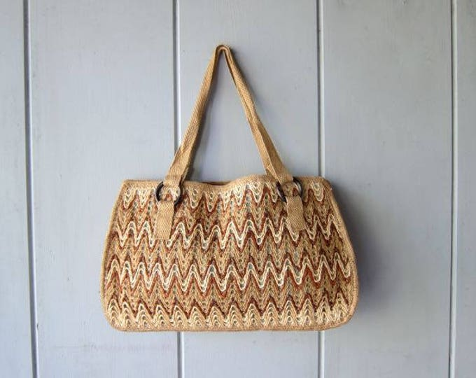 Raffia Jute Bag Natural Woven Straw Purse Large Twine Shoulder Bag Bohemian Hippie Boho Minimal Sling Made in Spain DELLS