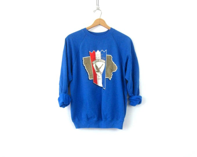 Blue Desert Storm Sweatshirt USA Americana Sweater Vintage Casual Hipster Raglan Sweater Unisex size XL