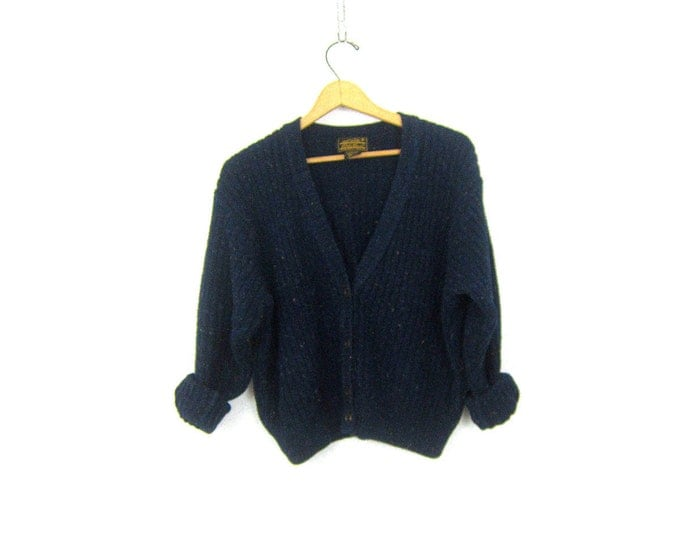 Cropped Cardigan sweater Navy Blue Speckled Button Up 90s Revival Cardigan Preppy 1990s Cotton Eddie Bauer sweater Women's Medium