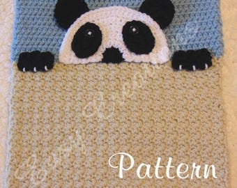 PDF CROCHET PATTERN Peek-a-Panda, Panda Pajama Pillow, boy Pj bag, girl Pj pillow, animal Pj pillow, child pajama pillow