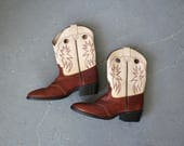 vintage cowboy boots / short cowboy boots / Dan Post boots / ankle boots / brown and cream leather boots / size 5.5 size 6 / low heel