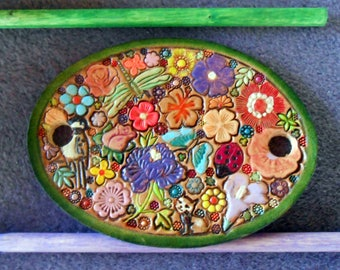 Leather Hair Barrette with Colorful Flowers and Butterfliy Ladybug Dragonfly Kitty Bird  and Two Sticks Made in GA USA OOAK