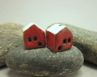 READY TO SHIP...Miniature Terracotta House Beads...Set of 2...Red Walls/White Roof