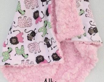 SALE Minky Baby Blanket, Elephant Baby Blanket, Elephant Blanket, Animal blanket, Toddler Blanket, Baby Girl Blanket Can Be Personalized