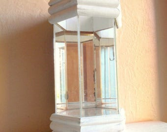 SALE Large Terrarium Glass with Mirrors and Shabby Chic White Wood Wooden Frame