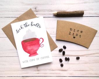 Coffee Gift Set - Coffee Christmas Card - Christmas Coffee Sleeve - Stocking Stuffer for Her - Coffee Lovers Gift Idea - Coffee Cup Sleeve