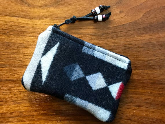 Wool Coin Purse / Phone Cord / Gift Card Holder / Zippered Pouch Black & White