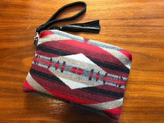 Wool Wristlet / Clutch XL Lined Scarlett LaPaz