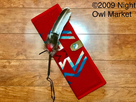 Feather Holder / Feather Case XL Wool Red & Turquoise