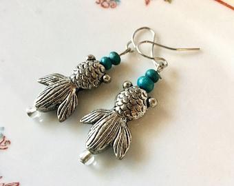 RICHARME Fancy Goldfish Bubble Eye Earrings with Turquoise Beads