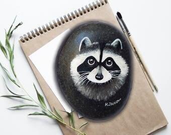 Raccoon Art Hand Painted Pebble Art Collectible, Animal Painting Rock Art