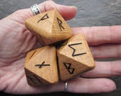 Unique and Exclusive - Rune Dice - made from Oak Wood. Set 107.