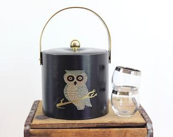 Mid Century Couroc Owl Ice Bucket / Mid Century Modern Ice Bucket / Vintage Owl Ice Bucket / Mid Century Barware / Owl Vintage Barware