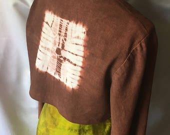Linen Shibori Cropped Long Sleeve Cocoa Brown Jacket Sze Med