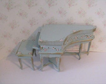 Dollshouse Piano, small baby grand, Tiny grand piano,, , duck egg blue, dollhouse miniature, twelfth scale,  music room