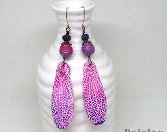 Violet Fairy Wing Earrings, Purple Fuchsia Flower Petal Earrings, Boho Statement Earrings
