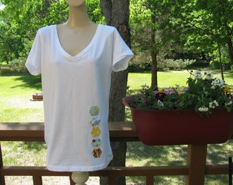 Ladies Short Sleeve V-Neck Tee, Light Weight Cotton T-Shirt, Summer Top, Hexagon Appliquéd, White T-Shirt, Lake Theme, Comfortable Loose Fit