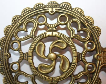 Vintage Solid Brass Trivet, 1970's, Hearts and Flowers