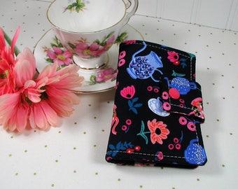 Tea Wallet, Tea Case, Tea Pouch, Travel Tea Bag Pouch, Travel Tea Wallet...Alice in Wonderland, Tea Garden Party in Navy, Rifle Paper Co