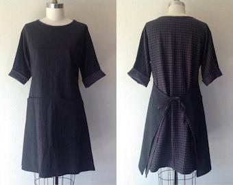 Ingrid tie-back dress- black - Small
