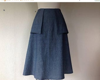 SALE Colleen A-line skirt- Chambray- Sz XS/S