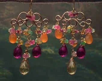 FLASH SALE Gemstone Chandelier Earring 14k Gold Fill Wire Wrap Colorful Gemstone Earrings Statement Luxury Gemstone Chandelier Earring
