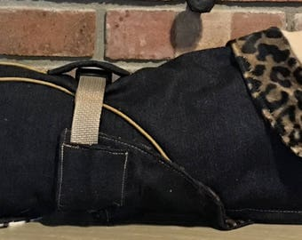 "FREE US SHIPPING Denim Roughrider Dog Coat lined w/cheetah Faux fur. (00061) Size 15"". Designed  Italian Greyhound, Chinese Crested, Min Pin"