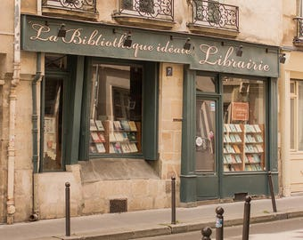 Paris Photography, Left Bank Bookshop, Libarie Paris, Paris Decor, Book Lovers, Office Decor, Francophile Art, Gallery Wall, Paris Print
