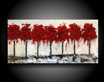 Large Abstract Painting 24 x 12 Mixed Media Original Painting Modern Canvas Wall Art Zen Painting Blue Gray Red Trees Interior Design
