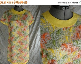 """ON SALE 60s 70s Dress // Vintage Yellow Orange Green Paisley Embroidered Dress by R&K Originals Size L 30"""" waist"""