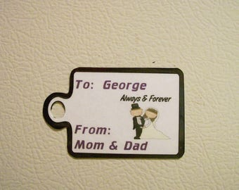 Magnetic Wedding Gift Tag for Groom, Groomsmen, Groomsman, Best Man, Guys, Father of the Bride, Groom, Gift Bag Tag, From Bride, Parents