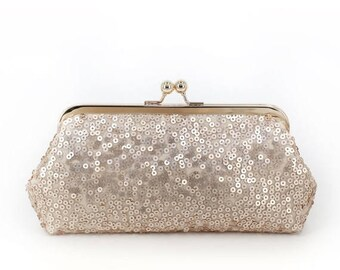 HALF PRICE SALE Blush Champagne Sequins Tulle Clutch + Gold Frame | Bridesmaids | Mother's Clutch | Ready to Ship