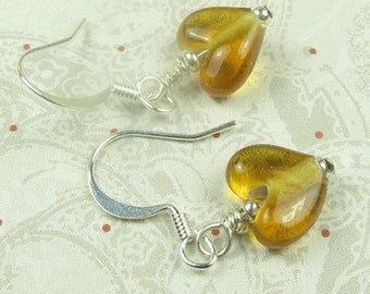 SALE, 50%, AmberTransparent Heart Glass earring, valentines day, holidays, birthdays, November