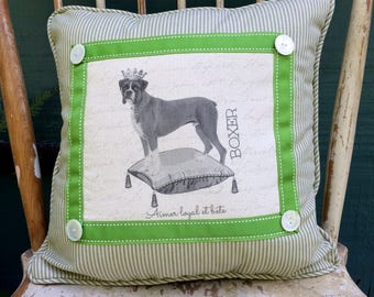 Boxer in Crown on Pillow| French Country Decor | Farmhouse Decor | Linen Print on Pillow | Dog with Crown on pillow
