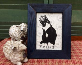 Black and white cat with Crown | French Country Decor | Farmhouse Decor | Linen Print | Distressed Shabby Chic Frame | French Cat with Crown