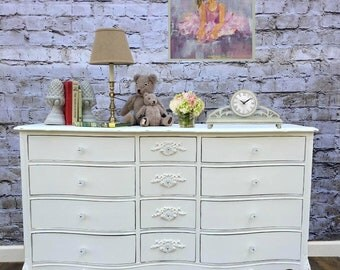 French Provincial Triple Dresser Painted Cottage Shabby Chic Creamy White with Floral Appliques and Light Distressing