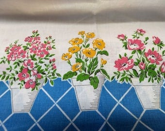 Vintage Feedsack Fabric Border Flower Pots with Lattice Feed Sack 31 x 40 #mm81