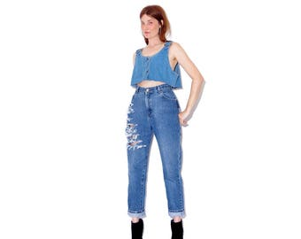 vintage Lees LEE JEANS / ripped jeans boyfriend jeans distressed jeans high waisted jeans mom jeans cropped jeans 90s jeans 90s clothing
