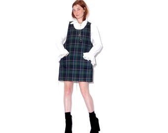 adorable PLAID OVERALL DRESS cropped with raw hem / tartan plaid jumper dress shift dress plaid dress clueless school girl schoolgirl dress