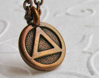 Recovery necklace, simple sobriety necklace, al anon, ACOA, alcoholics anonymous, serenity, AA charm necklace, everyday wear, casual jewelry