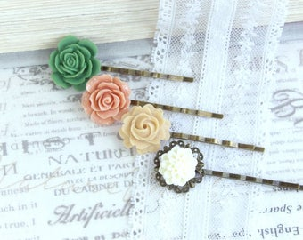 Victorian Hair Pins Green Flower Hair Pin Set of 4 Hair Pins Pink Flower Hair Pin Victorian Wedding
