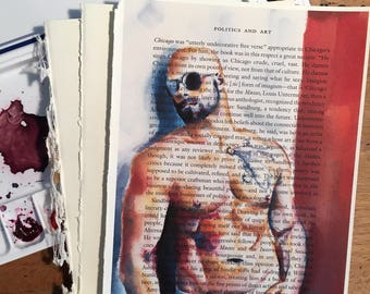 Sexy Shirtless Male Figure with Sunglasses on Vintage Book Paper by Artist Brenden Sanborn