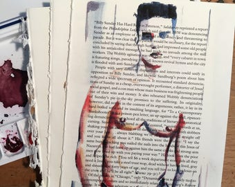 Shirtless Beautiful Young Male Figure on Vintage Book Paper by Artist Brenden Sanborn