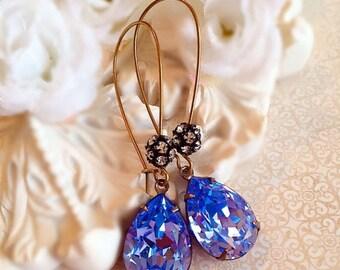 SALE 20% Off Tanzanite Earrings - Best Bridesmaid Gifts - Lavender Earrings - Swarovski Crystal Earrings - Bridesmaid Earrings - COVET Tanza